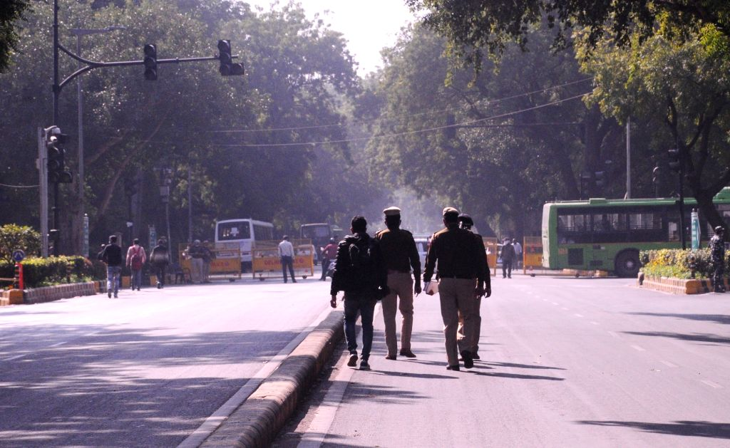 Security beefed up in the national capital in the wake of the farmers' protest against the Centre's three Farm Laws, on Nov 27, 2020.
