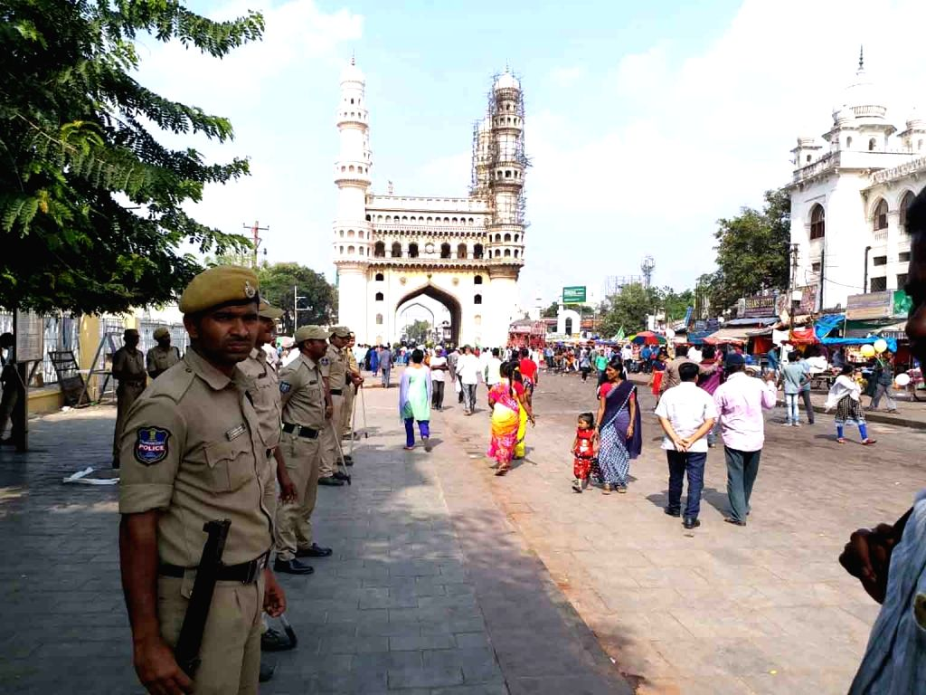 Security beefed up on the 26th anniversary of Babri Masjid demolition in Hyderabad, on Dec 6, 2018.