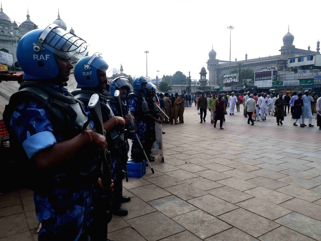 Security beefed up on the anniversary of the Babri Masjid demolition, in Hyderabad on Dec 6, 2019.