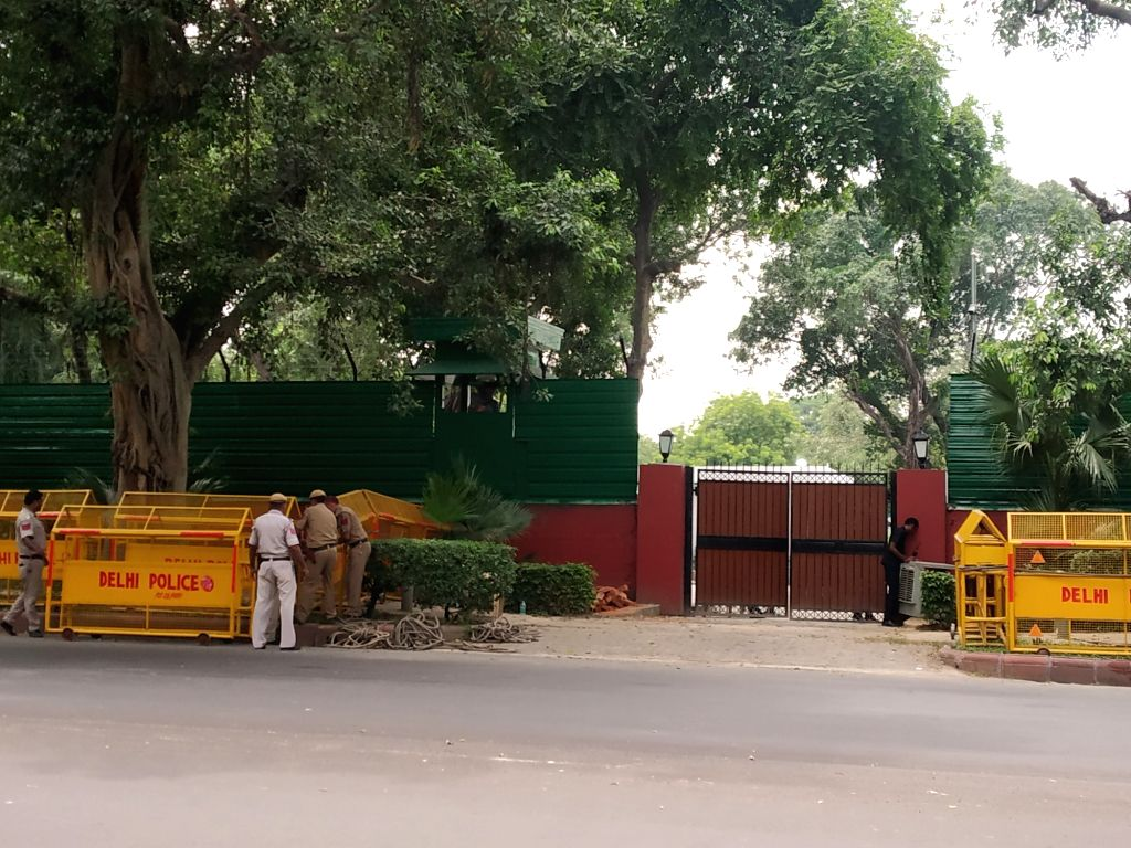 Security beefed up outside 6A, Krishna Menon Marg that has been allotted to Union Home Minister Amit Shah in New Delhi on Aug 28, 2019. - Amit Shah and Menon Marg