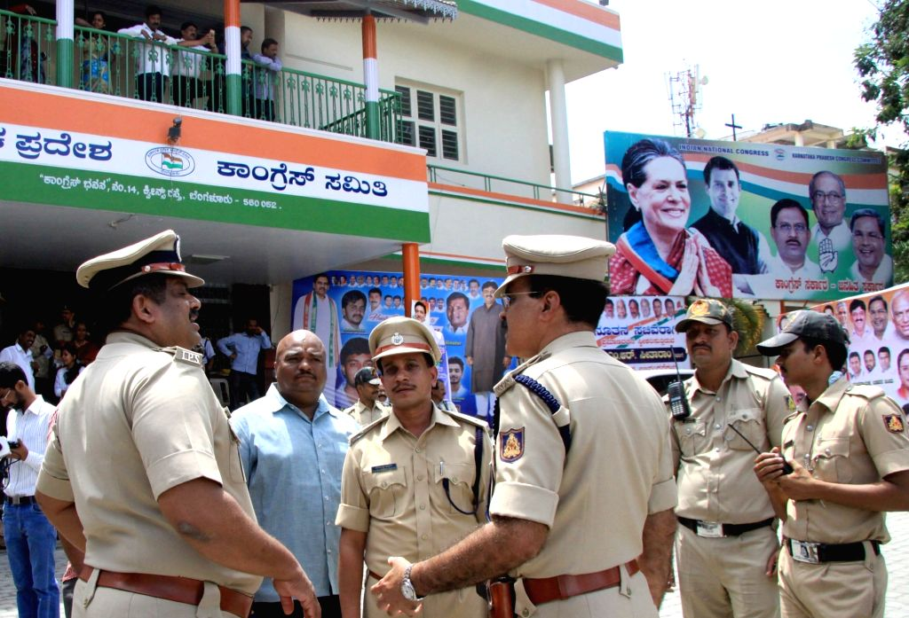 Security beefed up outside Congress office in Bengaluru on June 20, 2016.