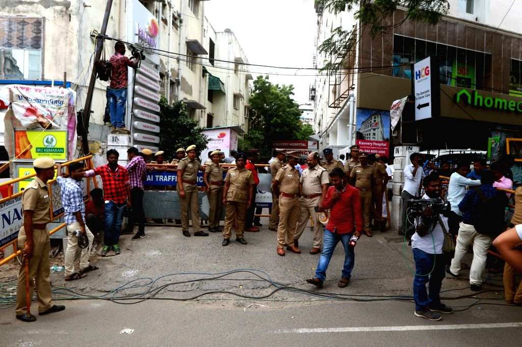 Security beefed up outside Kauvery Hospital, where DMK President M. Karunanidhi is admitted, in Chennai, on Aug 7, 2018.