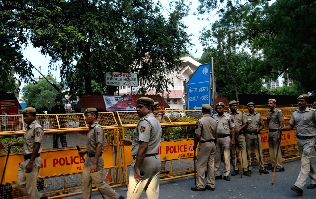 Security beefed up outside Kerala House in the wake of a NCP protest in New Delhi, on June 10, 2017.
