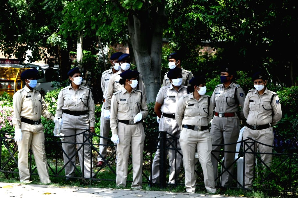 Security beefed up outside the Chinese embassy during a demonstration against China by Tibetans in exile, in New Delhi on July 11, 2020.