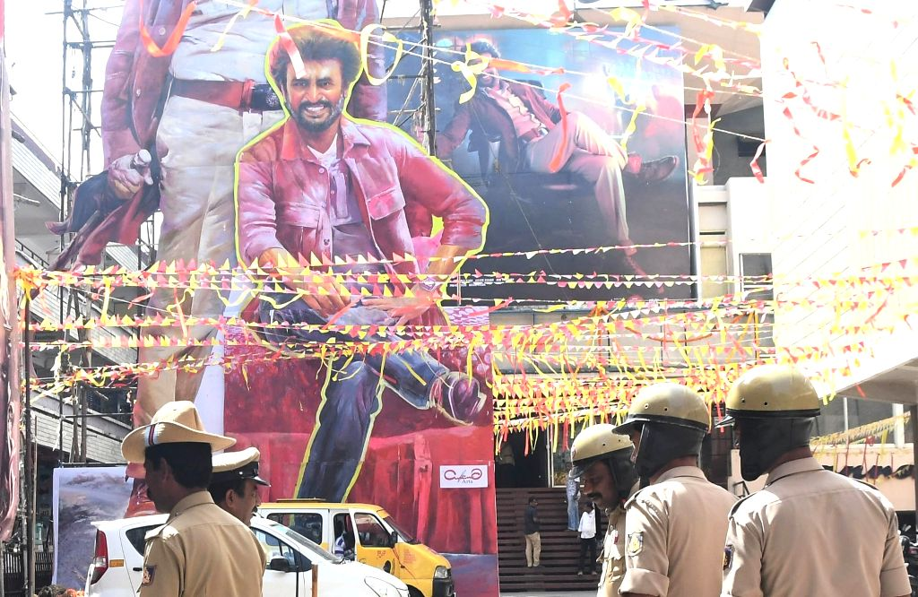 """Security beefed up outside the Narthaki Theatre during the screening of Rajinikanth starrer """"Darbar"""" in Bengaluru on Jan 9, 2020."""