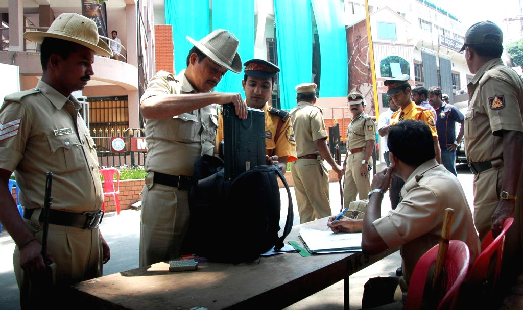 Security check for the tomorrows IPL match between Royal Challengers Bangalore and Sunrisers Hyderabad at Chinnaswany Stadium, in Bangalore on May 3, 2014.
