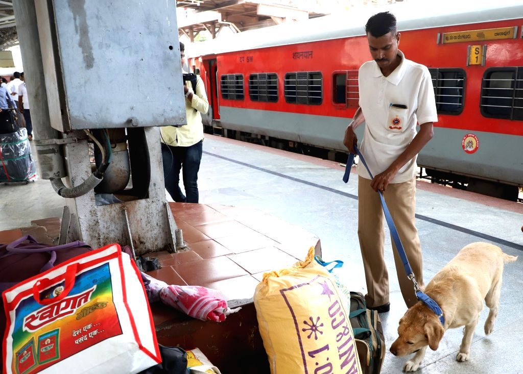 Security checks being carried out at the Bengaluru City Railway Station after a metal object, which looked suspiciously like the order casing of a grenade, was found at the station, in ...