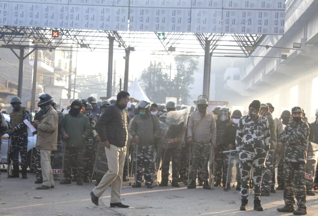 Security during Farmer during a protest against Farmer Bills at Tikri Boder in New Delhi