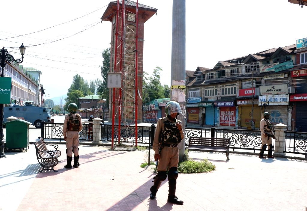 Security forces keep a strict vigil as curfew and separatists-called shutdown marred life across the valley in Srinagar on July 30, 2016.