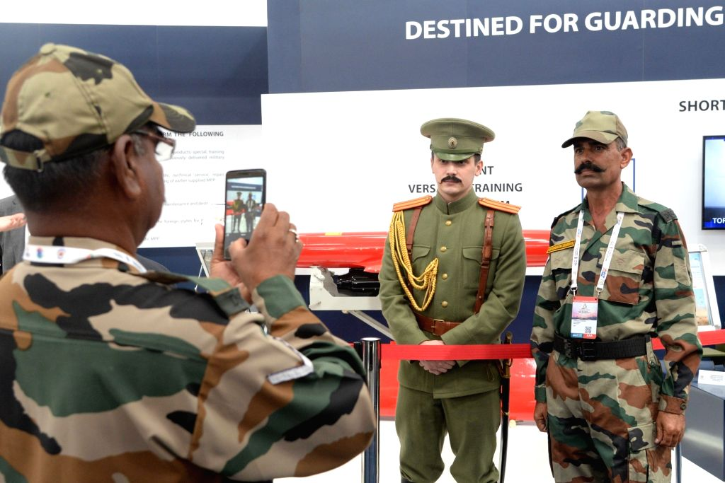 "Security personnel ""Aero India 2019"" at Yelahanka Air Force Station, in Bengaluru, on Feb 21, 2019."