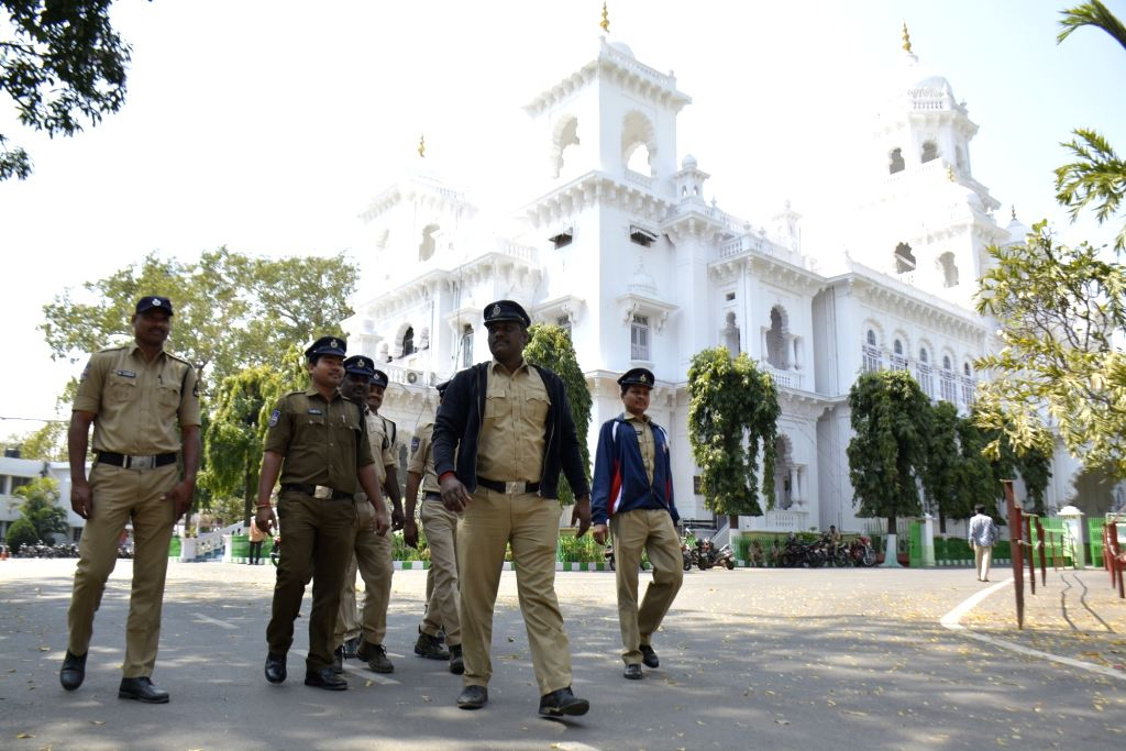 Security personnel at Telangana Assembly on Feb 21, 2019.