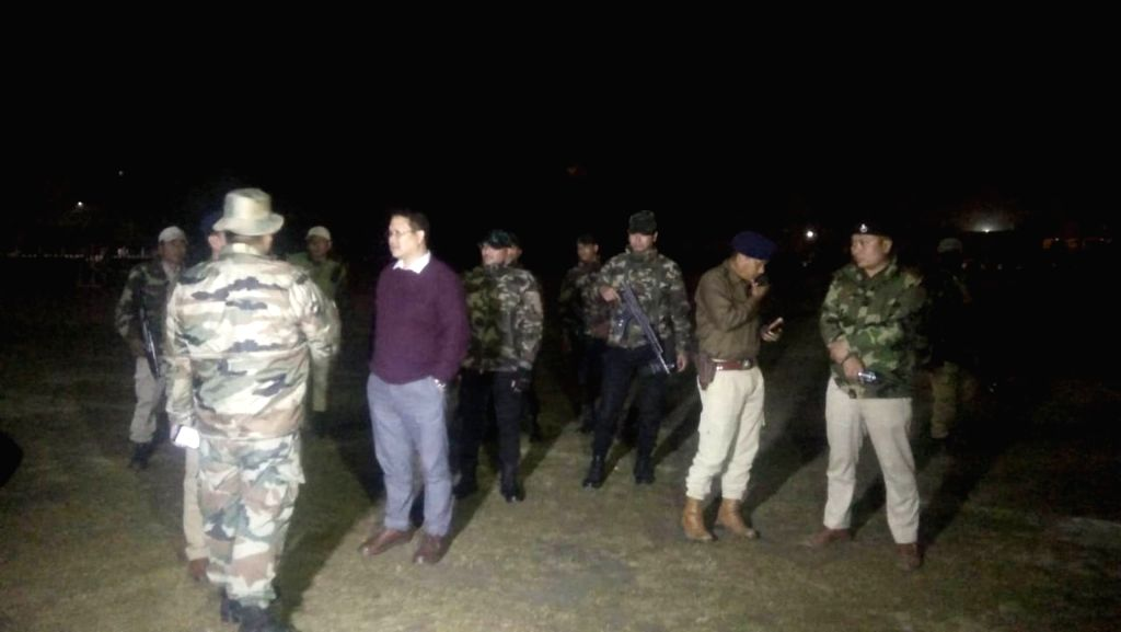 Security personnel at the spot where three 6 Assam Rifles troopers and one non-Manipuri sugarcane juice vendor were injured in a powerful blast near the Raj Bhavan in Imphal, Manipur on Feb ...