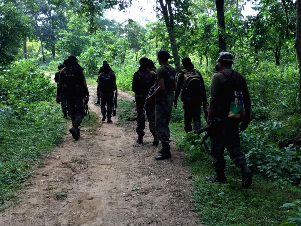 Security personnel conduct search and combing operations in the forests at Koderma-Rajauli border, on Sept 18, 2018.
