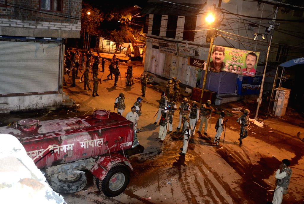 Security personnel deployed in Bhopal to contain violence as two groups clashed on May 30, 2017.