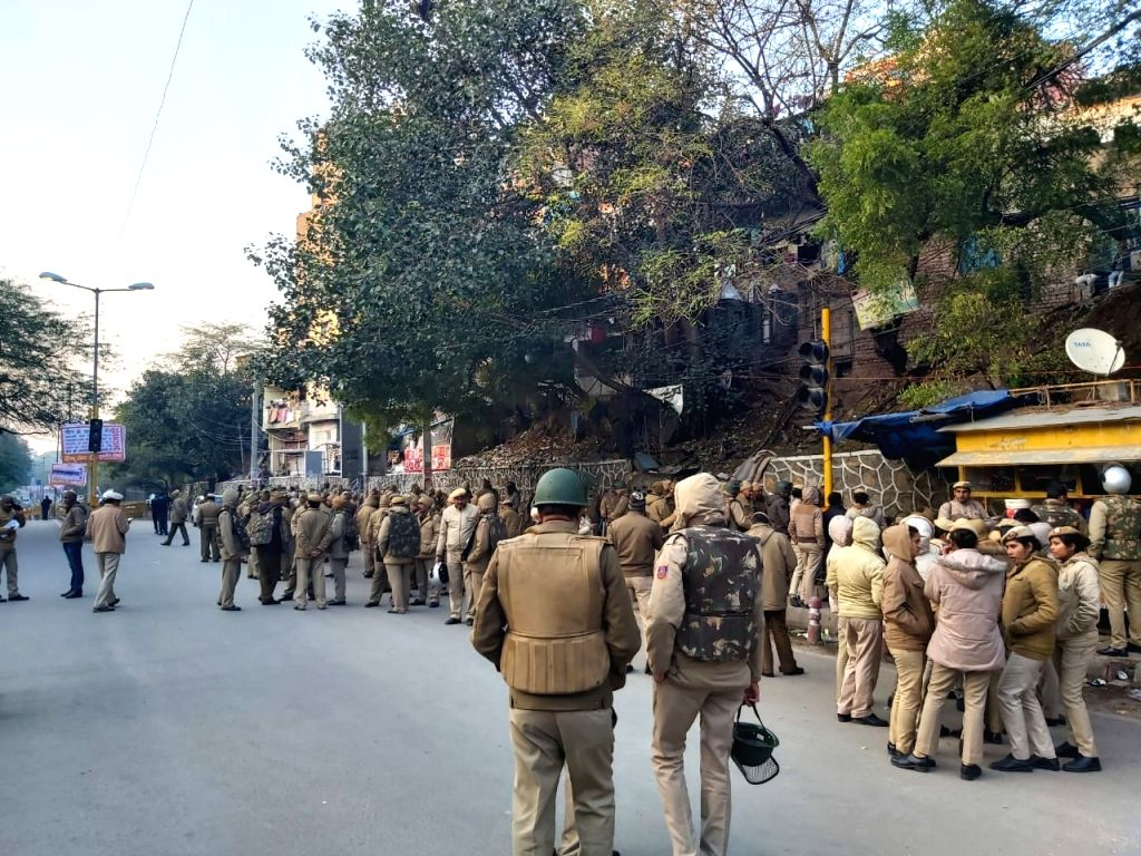 Security personnel deployed outside the Jawaharlal Nehru University (JNU) campus in New Delhi on Jan 10, 2020.