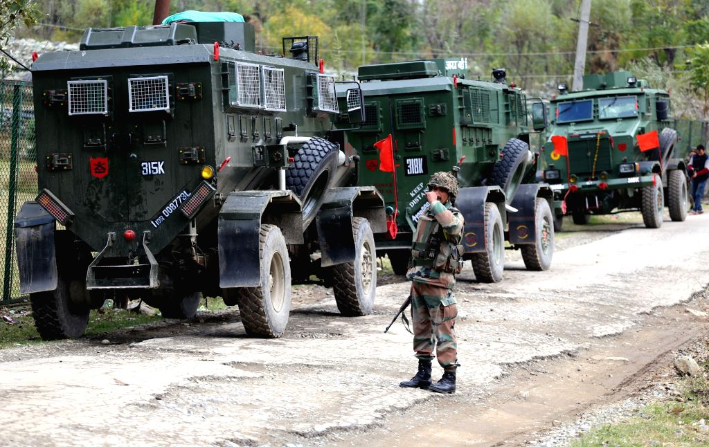 Security personnel during a search operation in Bandipora village of Kashmir after a brief encounter between security forces and militants, on Oct 27, 2015.