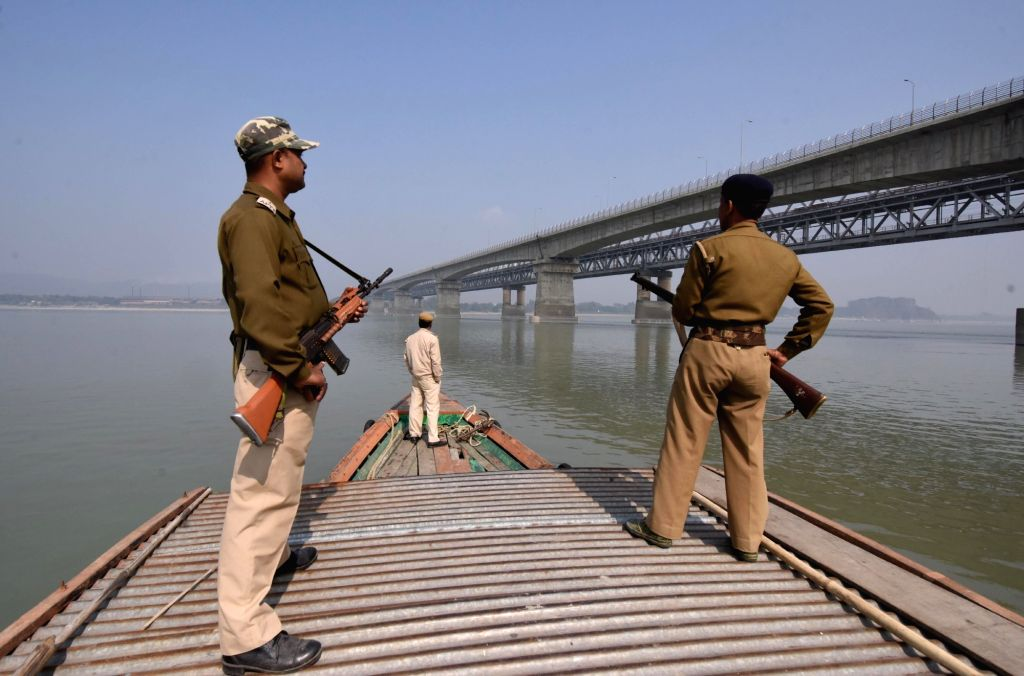 Security personnel keep vigil over Brahmaputra river during river patrolling ahead of Republic day in Guwahati on Jan 23, 2018.