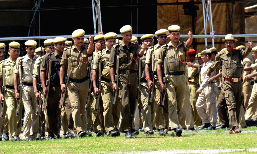 Security personnel practicing parade at veterenary field where the Independence day will be celebrated in Guwahati on Aug. 9, 2014.
