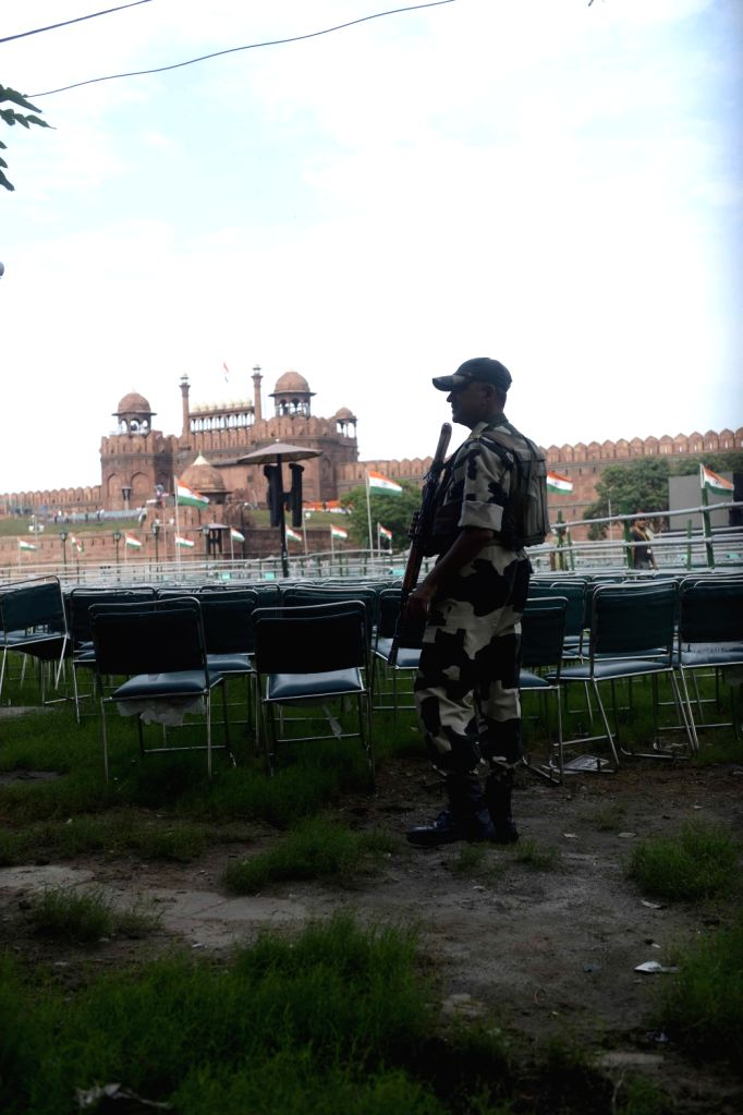 Security stepped-up at Red Fort  on the eve of Independence Day in New Delhi  on Aug 14, 2016.