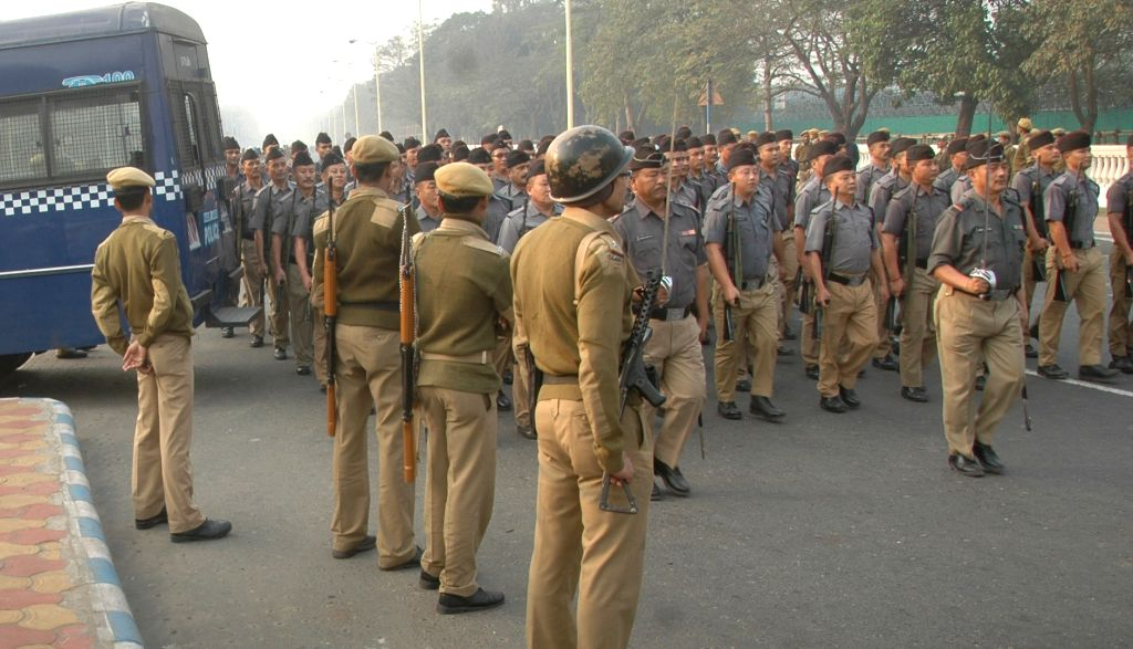 Security stepped up at the Republic Day rehearsals in Kolkata, on January 16, 2016.