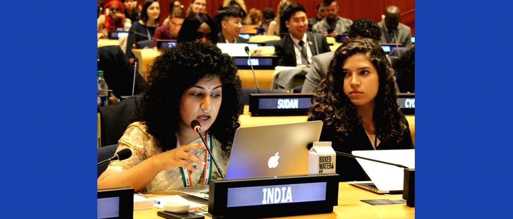 Seema Punjani, a young Indian Foreign Service officer, speaks at the United Nations 8th Economic and Social Council Youth Forum in New York held on April 8 and 9, 2019 in New York. (Photo: India Mission/IANS).