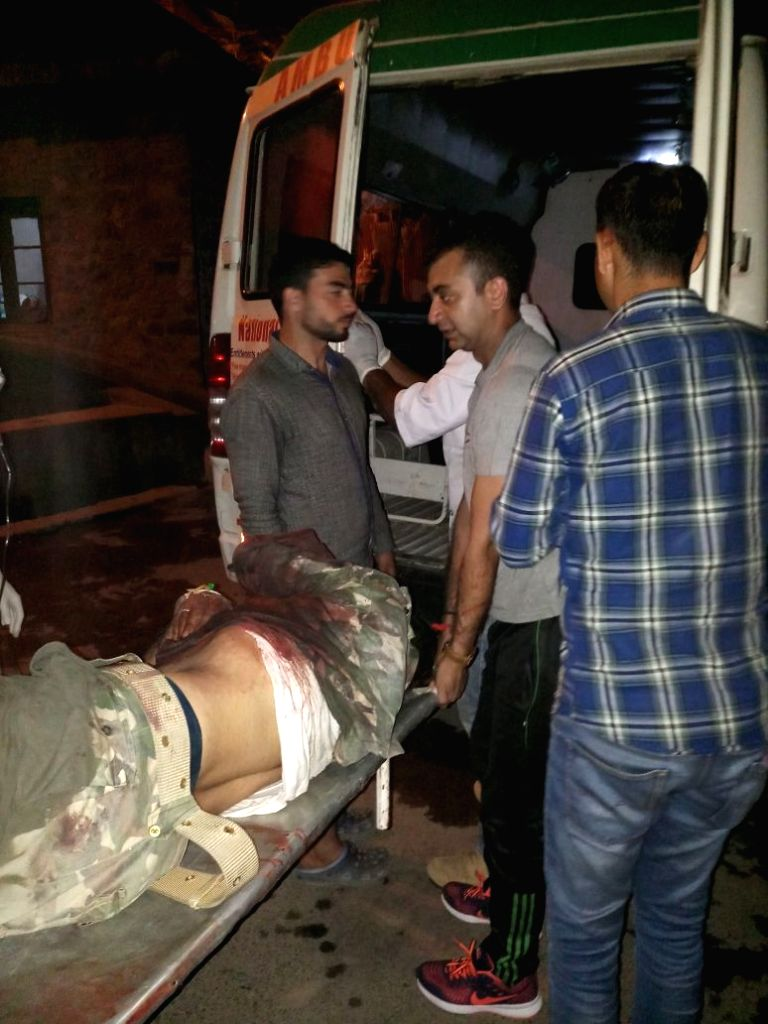 Seema Sashastra Bal (SSB) personnel being taken away after injured in a suspected fratricidal firing incident at an SSB camp near the Jawahar Tunnel in Ramban district of Jammu on Sept  20, ...