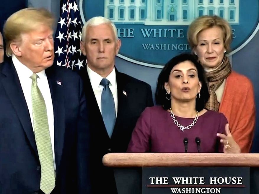 Seema Verma, who heads the United States government health insurance programmes for seniors and for the poor, speaks to the media at the White House on March 17, 2020. In the picture are President Donald Trump, from left, Vice President Mike Pence, V - Seema Verma