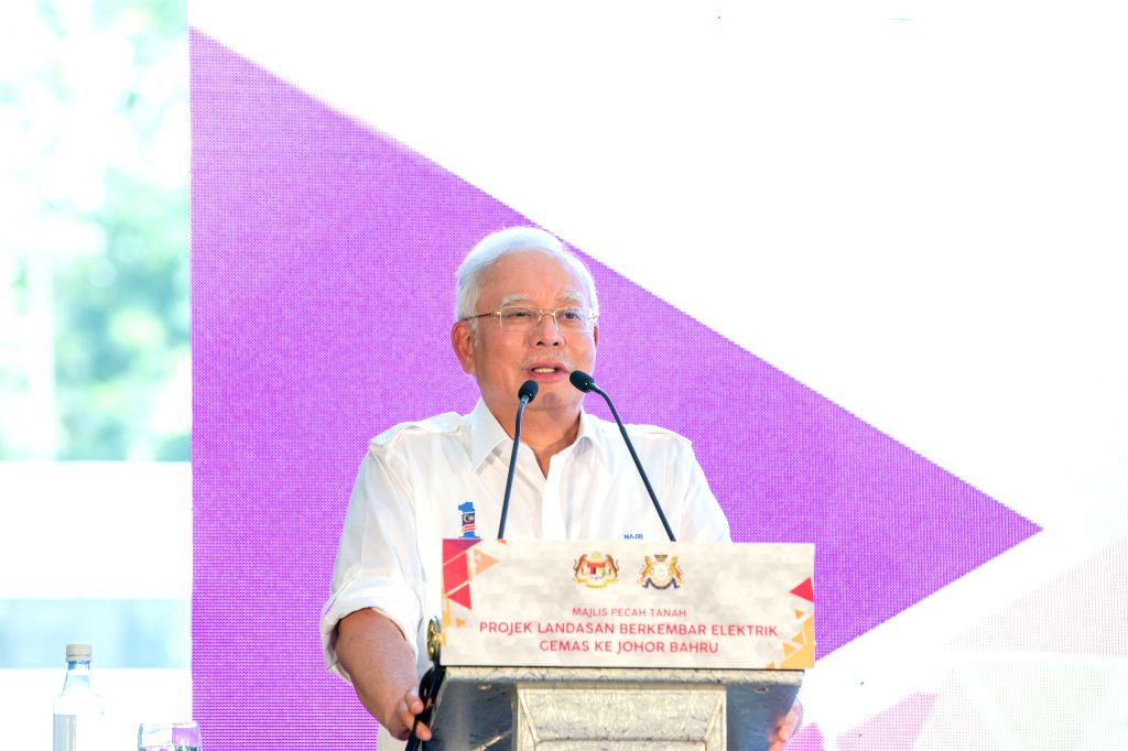 SEGAMAT(Malaysia), April 3, 2018 Malaysian Prime Minister Najib Razak speaks at the ground-breaking ceremony of the Gemas to Johor Bahru electric double-tracking railway project, in ... - Najib Razak