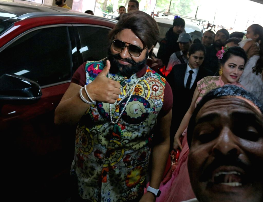 "Self styled godman Gurmeet Ram Rahim Singh during a cow milk party organised to promote his upcoming film ""Jattu Engineer"" in New Delhi on May 17, 2017."