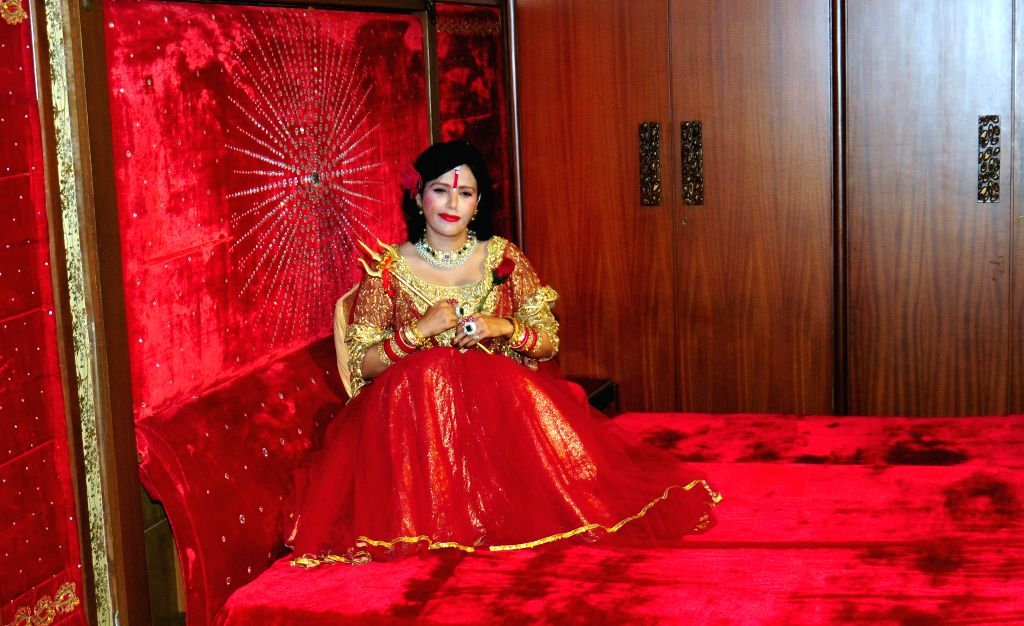 Self-styled godwoman Radhe Maa during a programme in Mumbai on August 10, 2015.