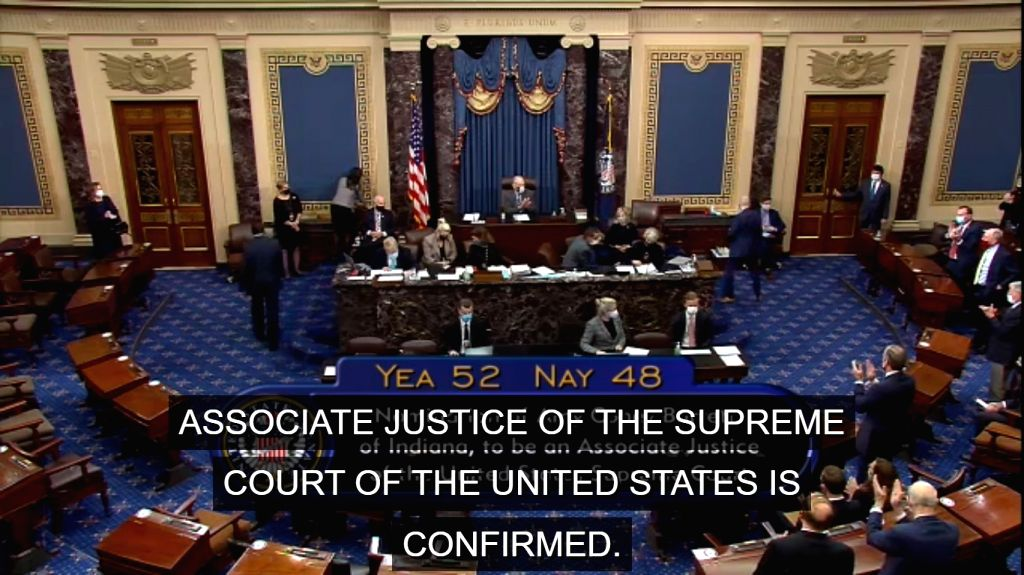 Senate vote confirming Amy Coney Barrett's nomination to the Supreme Court is announced on October 26, 2020.