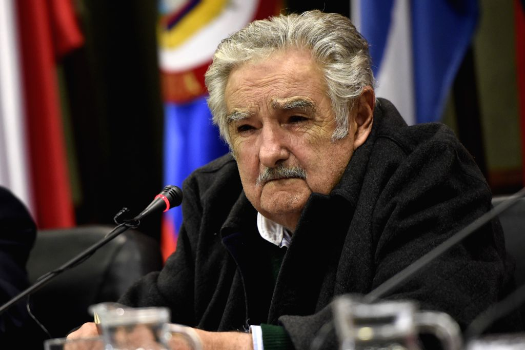 "Senator and former President of Uruguay Jose Mujica takes part in the conference ""The integration prospects viewed from Brazil and Uruguay"", in the seat ..."