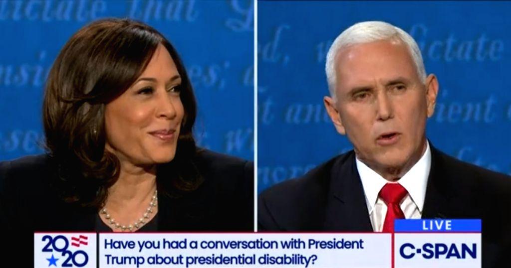 Senator Kamala Harris and Vice President Mike Pence at the vice-presidential debate on Wednesday, October 7, 2020, in Salt Lake City, Utah.