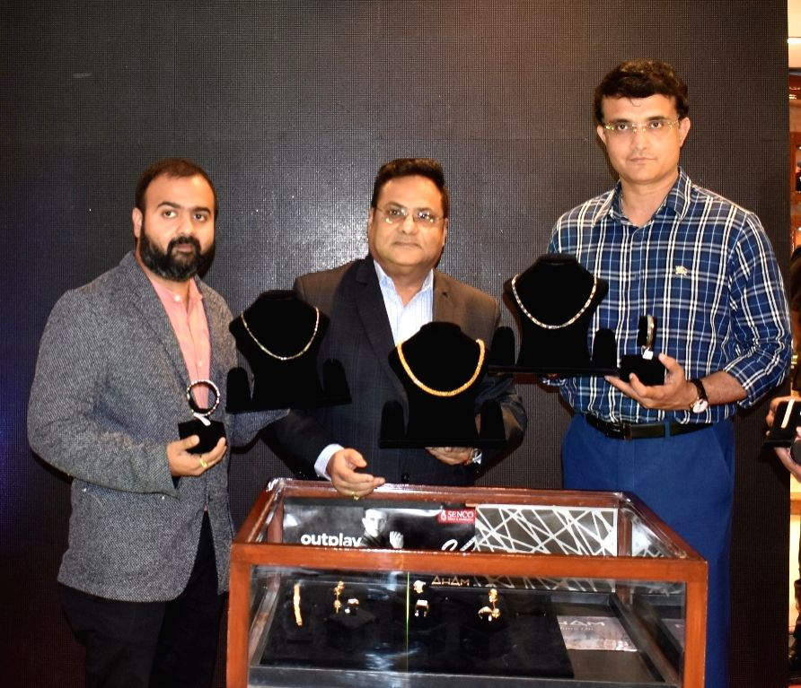 Senco Gold and Diamonds MD Shaankar Sen and Executive Director Suvankar Sen with former Cricketer and Senco Gold and Diamonds brand ambassador Sourav Ganguly at the launch of ???Shine On??? ... - Sourav Ganguly