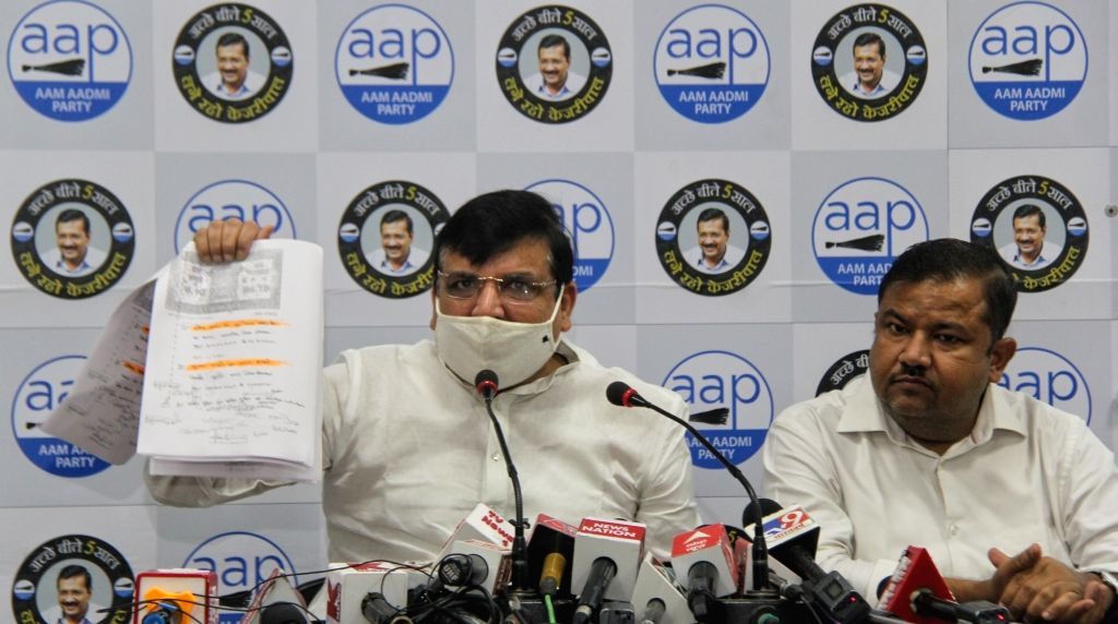 Senior AAP leader & Rajya Sabha Member Sanjay Singh addresses an important press conference about Ram Mandir Land at the party office in New Delhi on Wednesday June 16, 2021.