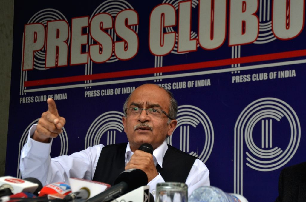 Senior advocate Prashant Bhushan along with former Union Minister Arun Shourie (not in picture), addresses a press conference on Rafale verdict, in New Delhi on Nov 15, 2019. - Arun Shourie