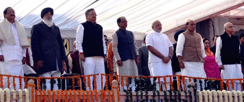 Senior BJP Leader Venkaiah Naidu, Punjab Chief Minister Parkash Singh Badal, Chhattisgarh Chief Minister Raman Singh, Madhya Pradesh Chief Minister Shivraj Singh Chauhan, BJP - Parkash Singh Badal, Venkaiah Naidu, Narendra Modi, Raman Singh, Shivraj Singh Chauhan, Rajnath Singh and L K Advani
