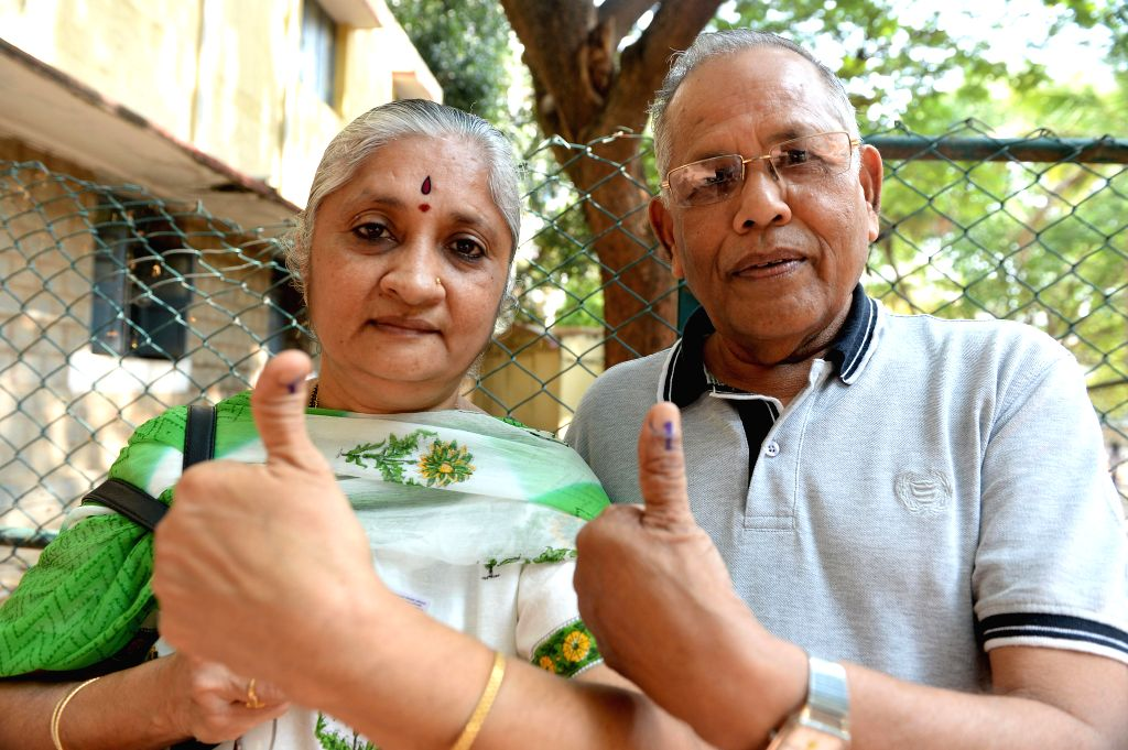 Senior citizens casting their vote for Lok Sabha election 2014 in Bangalore on April 17, 2014.