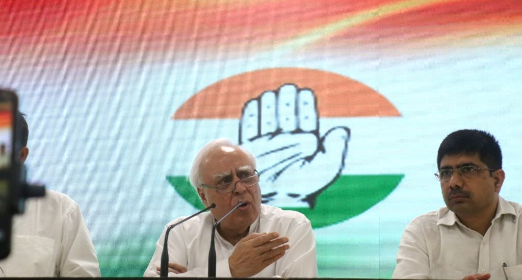 Senior Congress leader Kapil Sibal addresses a press conference in New Delhi, on April 15, 2019.