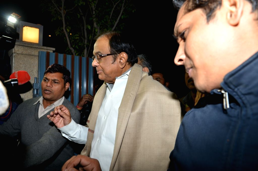 Senior Congress leader P Chidambaram arrives at his residence after being granted bail by the Supreme Court in the INX Media case, in New Delhi on Dec 4, 2019.