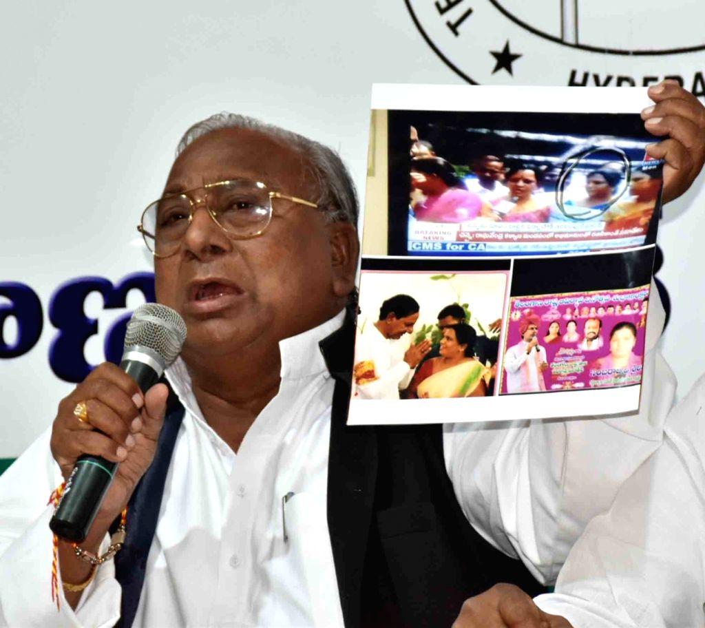 Senior Congress leader V Hanumantha Rao addresses a press conference in Hyderabad on May 16, 2017. - V Hanumantha Rao