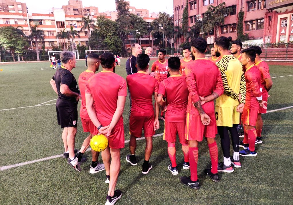 Senior Indian Men???s Football National Team during a passing session ahead of their back to back FIFA World Cup Qatar 2022 Qualifiers, in New Delhi.