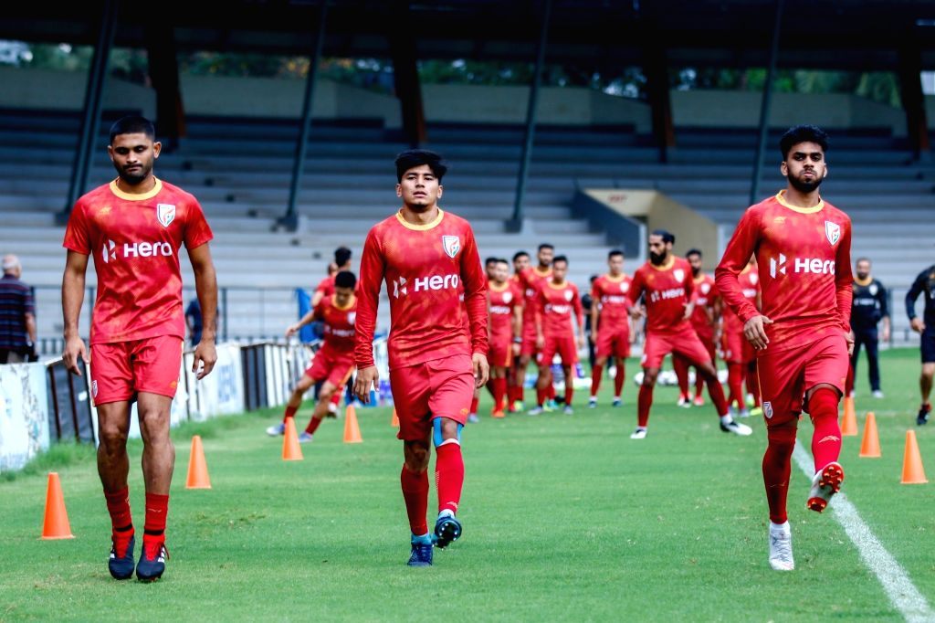 Senior Men's National Football team players during a practice session ahead of the Hero Intercontinental Cup against Tajikistan at the EKA Arena in Ahmedabad on July 7.