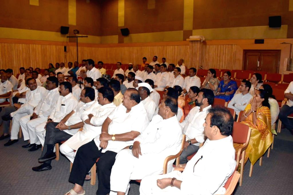 Senior NCP leaders and legislators during a party meeting called by party chief Sharad Pawar to discuss the government formation issue in Maharashtra; in Mumbai on Nov 12, 2019.