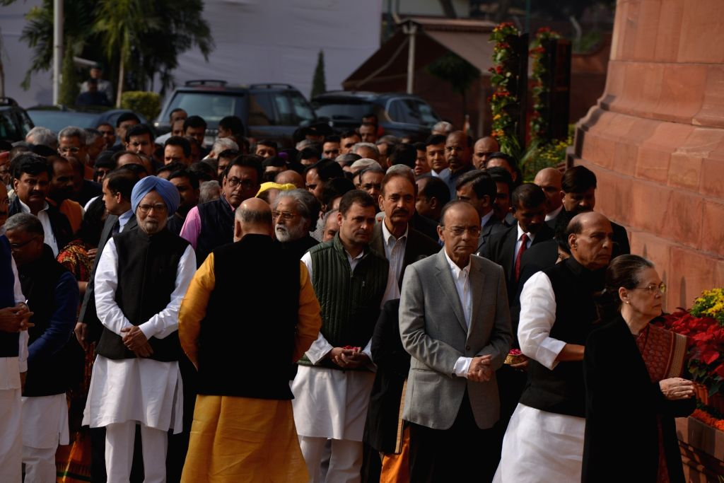 Senior political leaders pay tribute during the anniversary of 2001 Parliament Attack at Parliament House in New Delhi on Dec. 13, 2018.