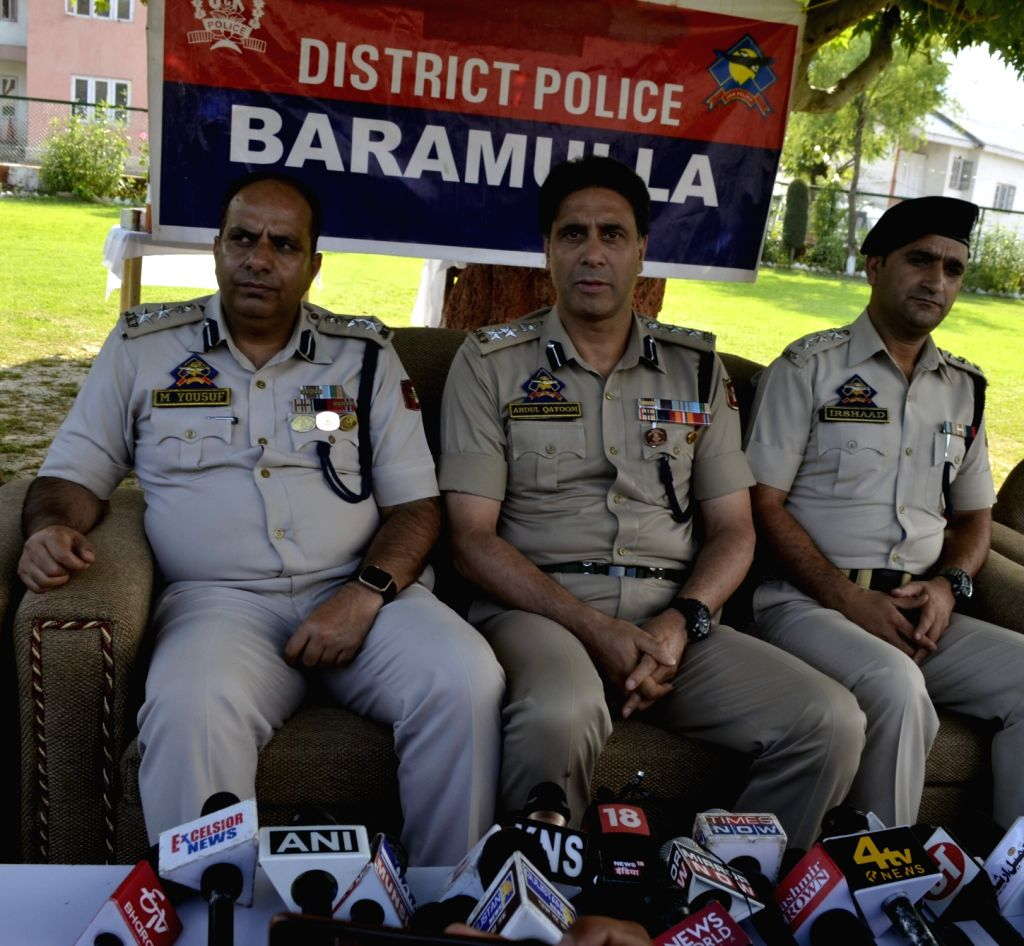 Senior Superintendent of Police (SSP) Baramulla Abdul Qayoom addresses a press conference in connection with the murder of a shopkeeper last month in Baramulla district of Jammu and ...