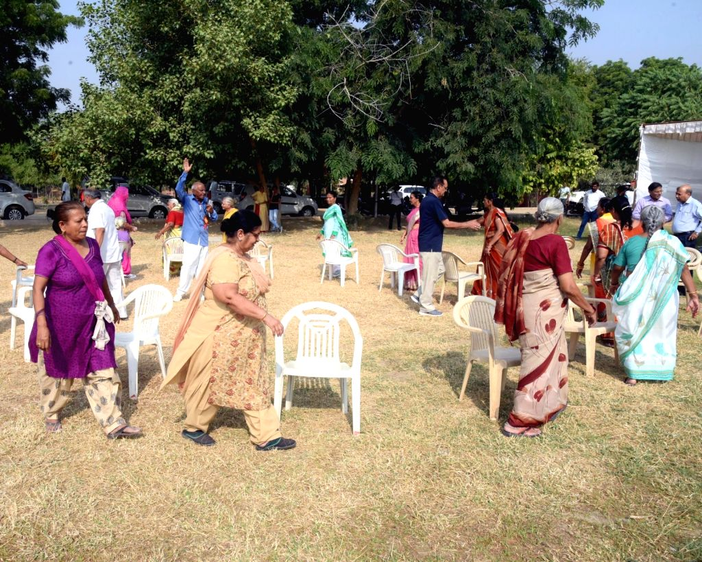 Senior women citizens participate during a musical chair game organised to mark the International Senior Citizen Day in Bikaner on Oct 1, 2016.