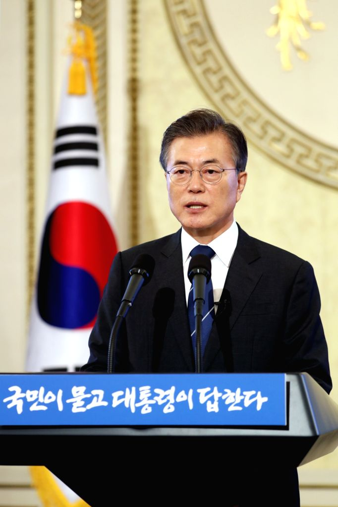 SEOUL, Aug.17, 2017 - South Korean President Moon Jae-in speaks during a press conference marking his first 100 days in office in Seoul, South Korea, on Aug. 17, 2017.
