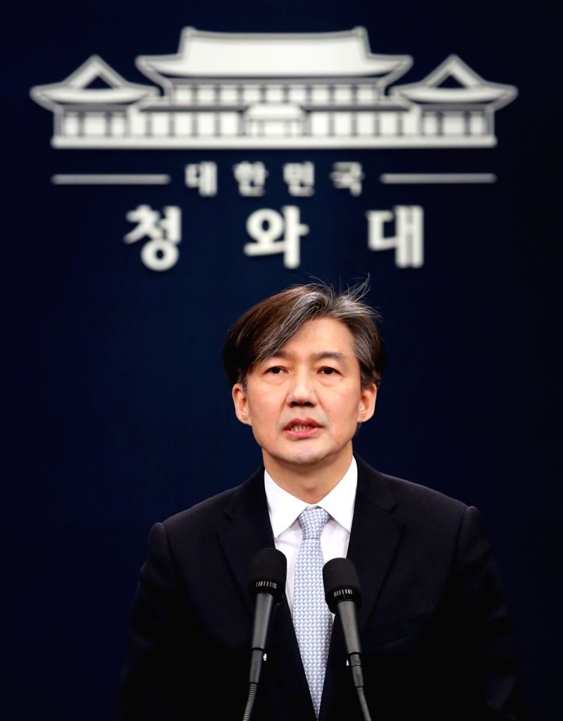 Seoul: Cho Kuk, senior presidential secretary for civil affairs, gives a briefing at the presidential office Cheong Wa Dae in Seoul on March 21, 2018, on government-drafted constitutional amendment. Cheong Wa Dae began a three-day public announcement