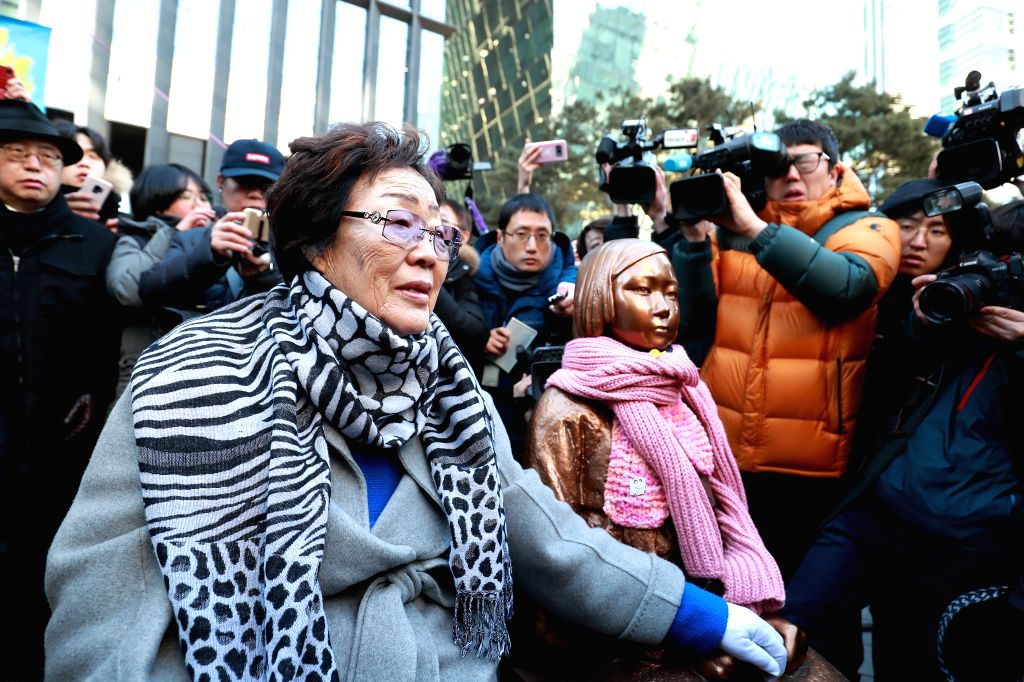 SEOUL, Feb. 1, 2019 - Lee Yong-su (L front), a South Korean victim who was forced into sex slavery for Japan's military brothels during World War II, takes part in the funeral ceremony of a symbolic ...